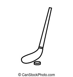 hockey stick and ball line style icon vector design
