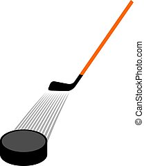 hockey stick and hockey puck vector illustration