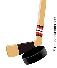 Hockey stick and puck close-up