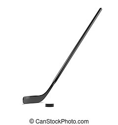 Hockey Stick and Puck  isolated on a white background