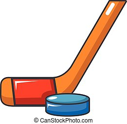 Hockey stick and puck icon, cartoon style