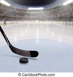 Hockey stick and puck on ice in fictitious arena with fans in the stands and copy space. 3D rendering of hockey rink arena.