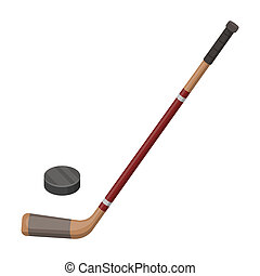 Hockey stick and washer. Canada single icon in cartoon style...