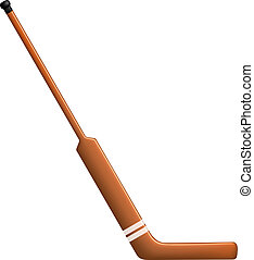 Hockey stick for goalie on white background