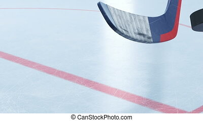 Hockey Stick Hitting Hockey Puck in Slow Motion Close-up on...