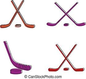 Hockey stick icon set, color outline style - Hockey stick...