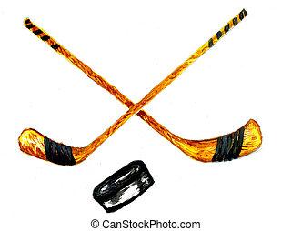 Hockey Stick Sketch - Watercolor sport sketch, hockey stick...