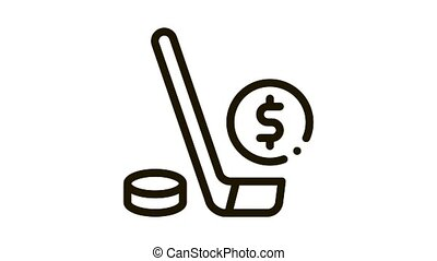 Hockey Stick with Puck Betting And Gambling animated black icon on white background