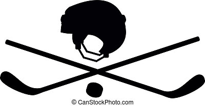 hockey sticks and helmets - Pirate character in the form of...