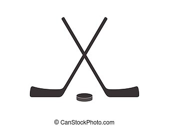 Hockey sticks and puck grey minimal logo design. Vector background