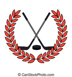 hockey sticks crossed with wreath crown