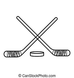Hockey sticks with puck icon, outline style - Hockey sticks...