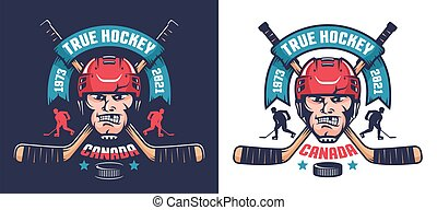 Hockey team emblem with player head and crossed sticks. Retro sport logo.