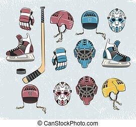 hockey tems color - Hockey equipment in a classic retro ...