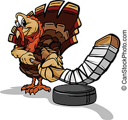 Hockey Thanksgiving Holiday Turkey Cartoon Vector...