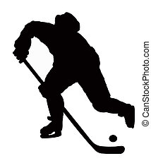 The hockey player plays On white background with puck.