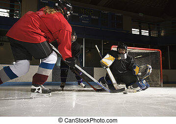 hockey., tocando, mulheres