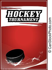 Hockey Tournament red poster vector design