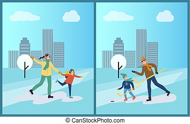 Hockey Training of Father and Son, Skating on Ice
