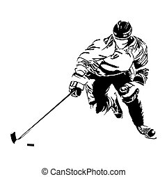 vector hockey players silhouette on light background