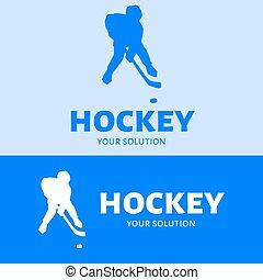 Hockey vector logo. A logo in the shape of a hockey player