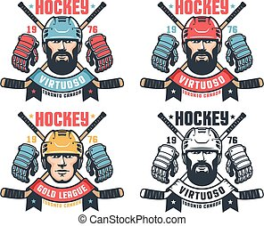 Hockey vintage logo with bearded player, crossed sticks and ribbon