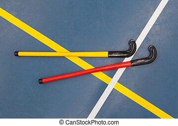 hockeysticks, école, vieux, gymnase
