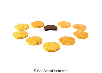 ?hocolate coins in the shape of a heart on a white background