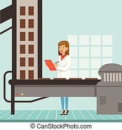 hocolate factory production line, female controller holding clipboard and controlling the production process chocolate bars vector Illustration