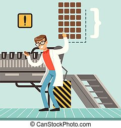 hocolate factory production line, male confectioner controlling the production process vector Illustration