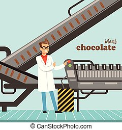 hocolate factory production line, male controller controlling the production process vector Illustration