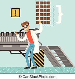 hocolate, processo, fábrica, ilustração, confectioner, vetorial, controlando, linha, macho, producao