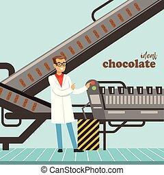 hocolate, továrna, výrobní linka, mužský, kontrolor, controlling, ta, výroba metoda, vektor, ilustrace