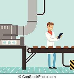 hocolate, továrna, výrobní linka, mužský, kontrolor, sevření clipboard, a, controlling, ta, výroba metoda, vektor, ilustrace
