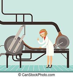 hocolate, továrna, výrobní linka, samičí, cukrář, controlling, ta, výroba metoda, vektor, ilustrace