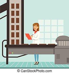 hocolate, továrna, výrobní linka, samičí, kontrolor, sevření clipboard, a, controlling, ta, výroba metoda, čokoláda advokacie, vektor, ilustrace