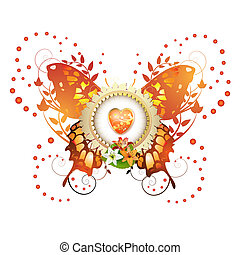 hodiny, design, nad, barevný, motýl