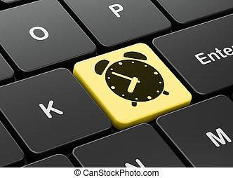 hodiny, timeline, úzkost, počítač, grafické pozadí, klaviatura, concept: