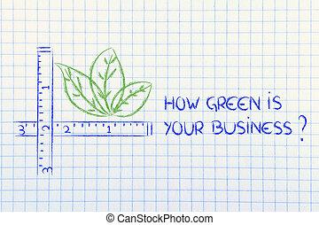hoe, business?, groene, jouw