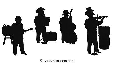 hoe down boys in silhouette