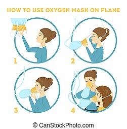 hoe, om te, gebruiken, zuurstofmasker, op, de, schaaf, in, noodgeval, geval