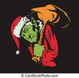 hoe, stola, kerstmis, grinch