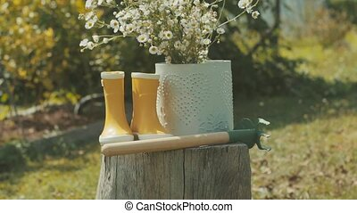 Hoe, wellington boots and flowers in the garden. - Garden...