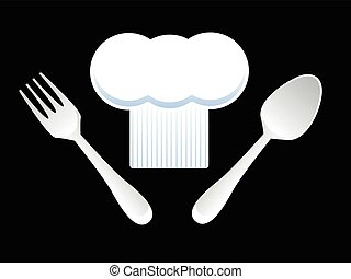hoed van de chef, vork, en, lepel
