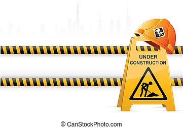 hoedje, bouwsector, hard, signboard, onder