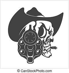 hoedje, geweer, schedel, cowboy