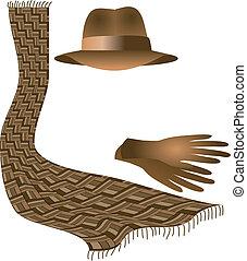 hoedje, handschoenen, sjaal
