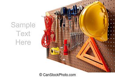 hoedje, hard, gereedschap, plank, pin