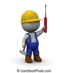 hoedje, hard, karakter, schroevendraaier, overalls, hamer, 3d