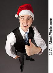 hoedje, jonge, kerstman, man